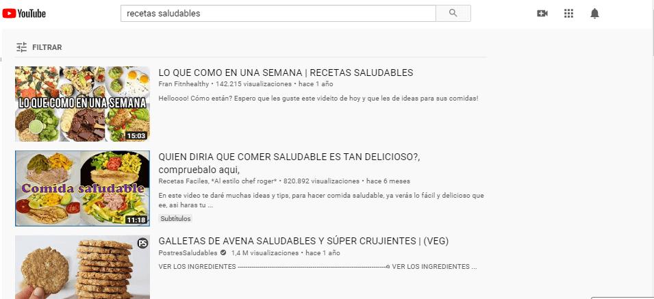 recetas saludables en YouTube