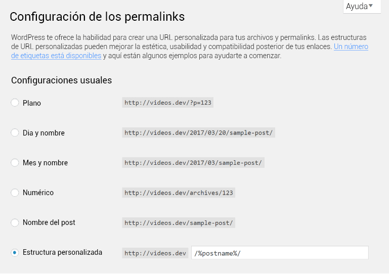 Configuración de los enlaces permanentes en WordPress