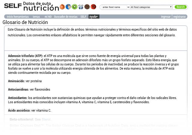 Glosario de nutrición