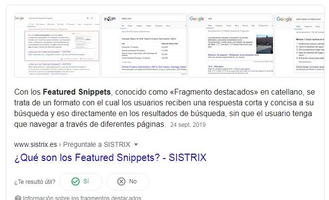 Ejemplo de Featured Snippet