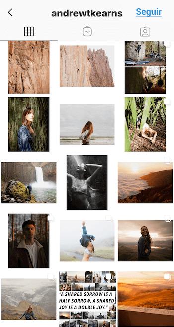 Feed de Instagram con espacio en blanco