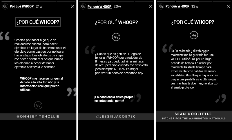 campaña de recomendaciones de WHOOP