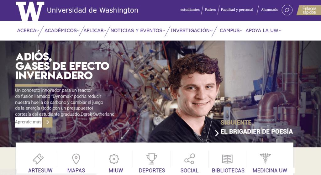 Página de aterrizaje de la Universidad de Washington