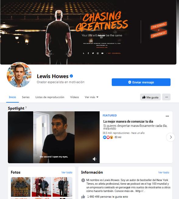 Página de Facebook de Lewis Howes
