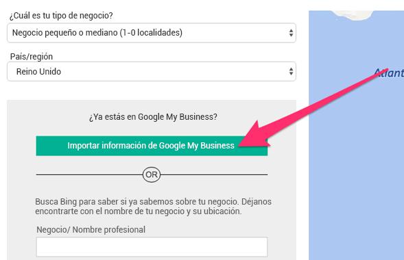 opción de importar datos de Google My Business