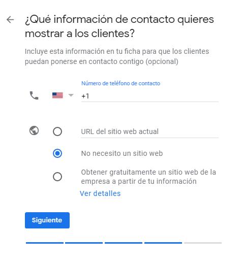 Paso 5 de GMB: información de contacto