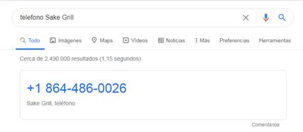 Número de teléfono de restaurante en la SERP
