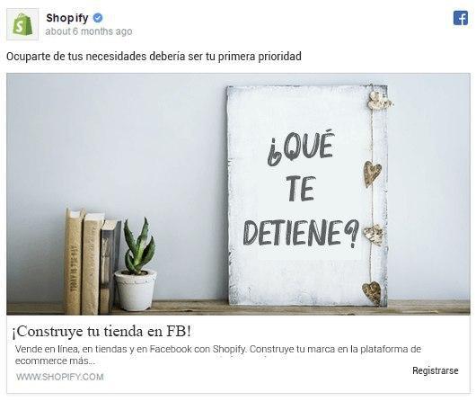 """Anuncio """"Construye tu tienda"""" de Shopify"""
