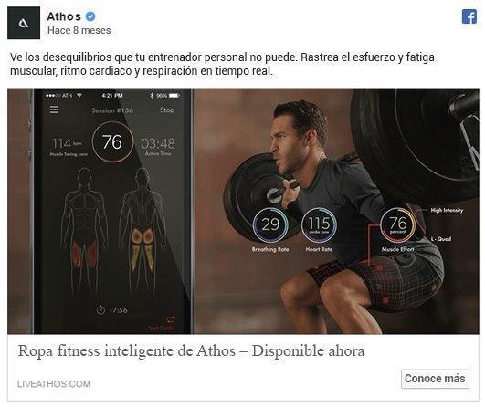 Anuncio en Facebook de la Ropa fitness inteligente de Athos