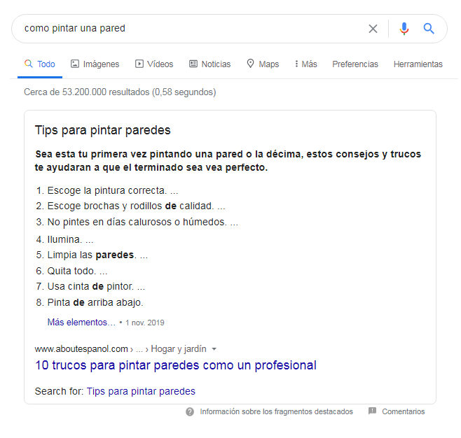 Ejemplo de snippet de lista numerada