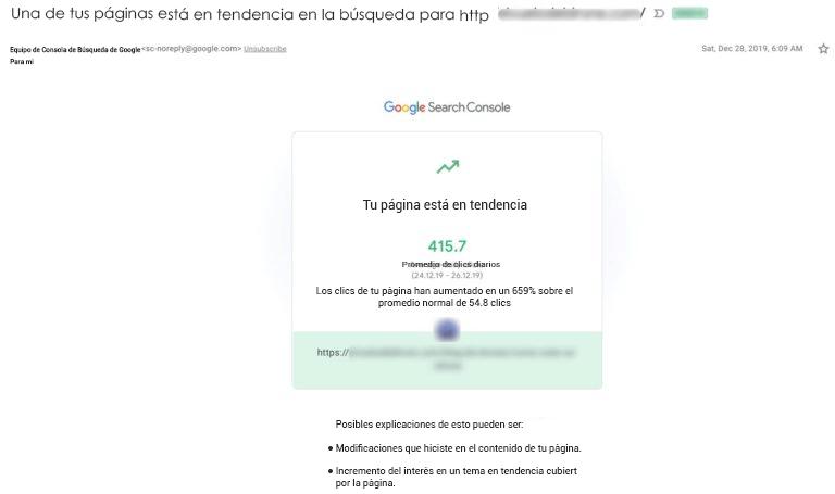 Ejemplo de alerta de email