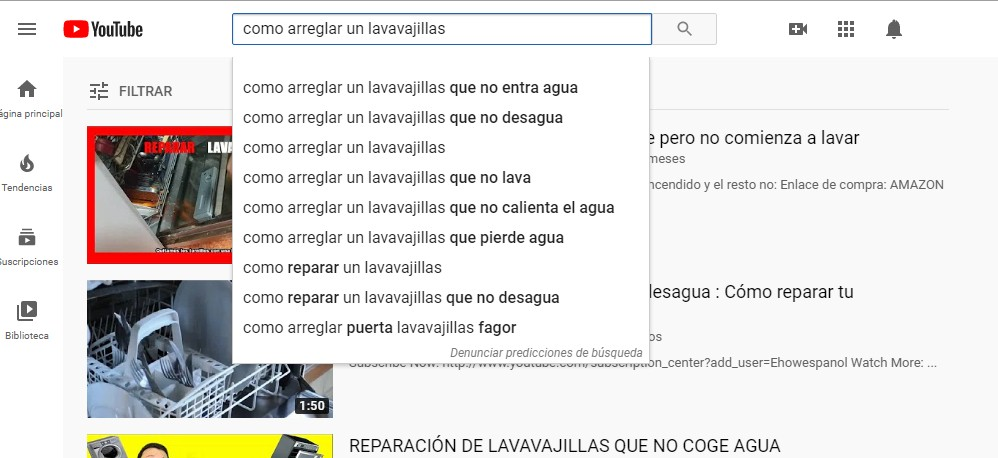 Autocompletar en YouTube