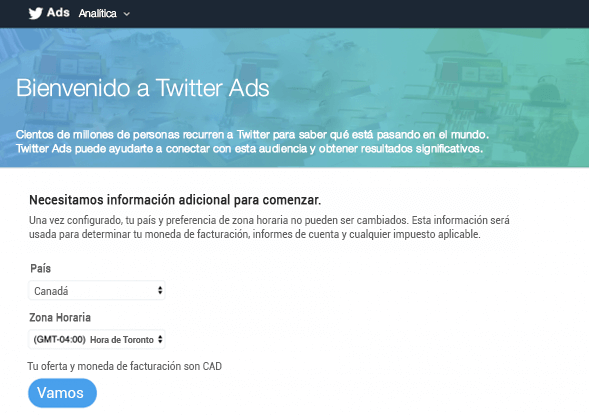 Pantalla de inicio de Twitter Ads