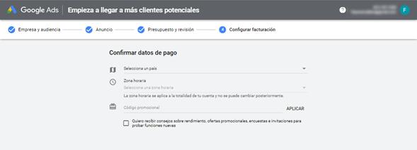 Google Ads -Confirmar datos de pago