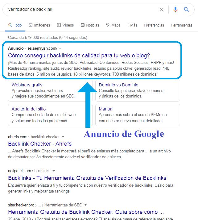 Anuncio de Google