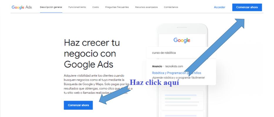 Página principal de Google Ads