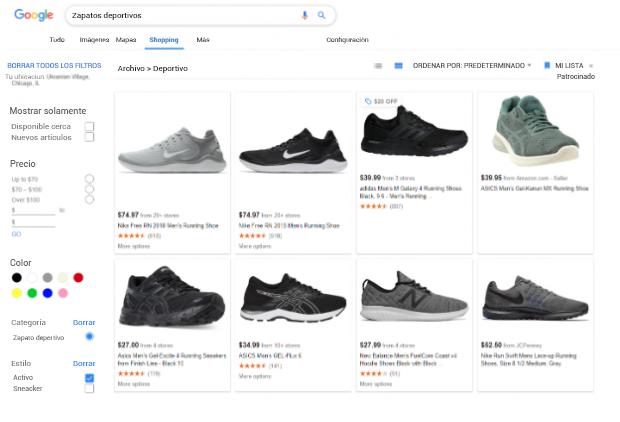 zapatos deportivos en Google Shopping