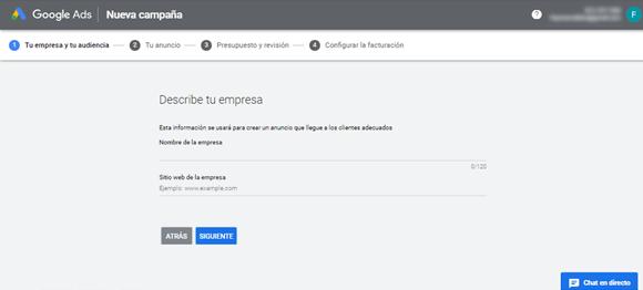 Google Ads -Describe tu empresa