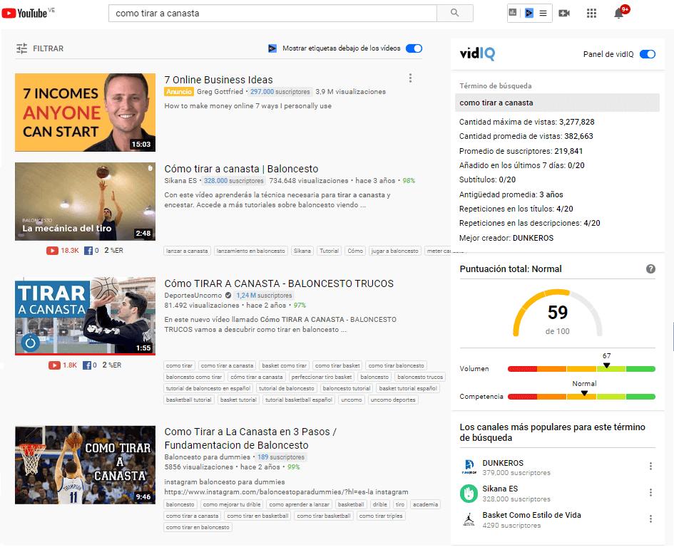 Ejemplo de VidIQ en YouTube