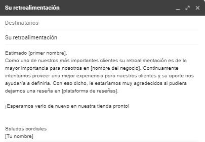 Ejemplo de correo personalizado