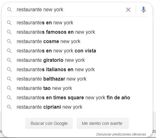 Autocompletar en Google