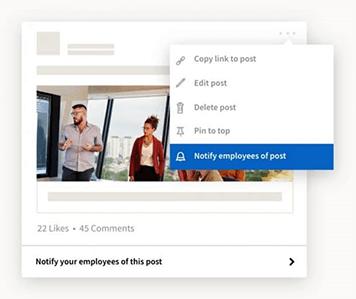 Notificar a tus empleados en LinkedIn