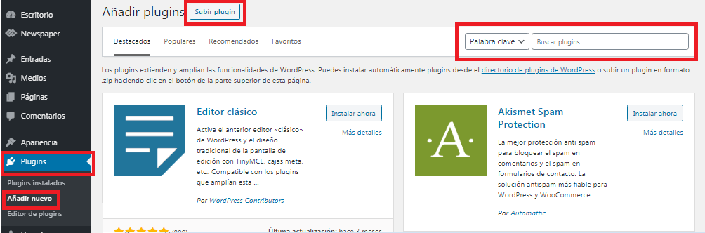 Agregar plugins en WordPress